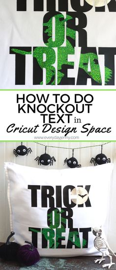 """Learn how to do the """"knockout"""" text technique in Cricut Design Space. Super easy to do using the Slice and Weld Tools. This post contains affiliate links. This means, if you make a purc…"""