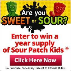 Sour Patch Kids Sweepstakes - http://www.momscouponbinder.com/sour-patch-kids-sweepstakes/ #sweeps #sweepers #sweepstakes