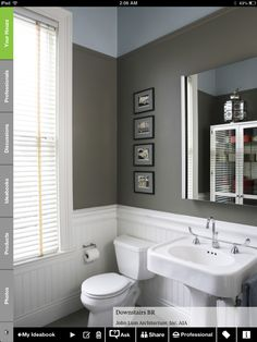 This is similar to our planned floor tile with pedestal sink so I can picture how the wainscot panels might look.  Also the gray paint color.