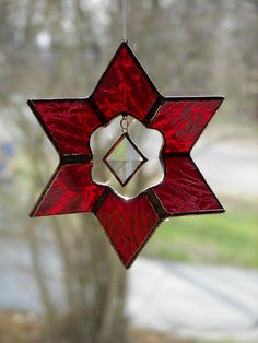 Stained Glass 3D Star Suncatcher Red by ChapmanStainedGlass