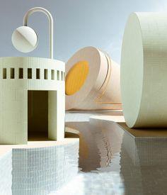 Digital rendering artist Alexis Christodoulou creates dream-like architectural spaces Interior Design Courses Online, 3d Interior Design, 3d Design, House Design, 3d Fantasy, Pastel, Lightroom, Architecture Design, Colours