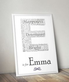 You can choose any letter & name to personalise this letter word art print. This framed word art print is ideal to hang in a nursery or children's bedroom. Personalised Prints, Personalized Gifts, Framed Words, Birthday Gifts For Kids, Important Dates, Word Art, Thoughtful Gifts, Initials, Names