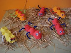 """Egg carton bugs ("""",), I would just put the legs all coming out of the Thorax (middle) section to be accurate."""