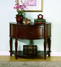 Transitional Brown Wood Half Round Accent Table