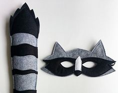 CHILD Raccoon mask and tail set Halloween costume Photography prop