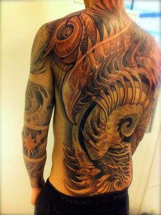 Biomechanical Tattoo on the back #Biomechanical #tattoo