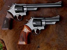 Smith & Wesson Model 29s .44 Remington Magnum, 4- and 8⅜-inch barrels. Would make anyone's day.