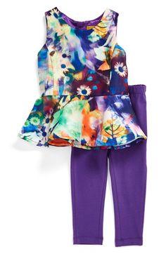 Nicole Miller Floral Print Top & Leggings Set (Baby Girls)