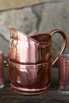 Vintage Copper Large Water Jug c. Copper Pots, Copper Kitchen, Kitchen Tools, Antique Copper, Brass, Rose Gold Theme, Copper Decor, Copper Accents, Metal Crafts