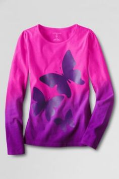 Girls' Long Sleeve Chalkboard Butterfly Graphic T-shirt from Lands' End