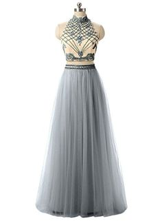 e38603e21f27 Ysmo Women's 2 Piece High Neck Beaded Bodice Prom Dress with Tulle Skirt:  Amazon.co.uk: Clothing