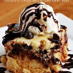 Cream cheese filling baked over a layer of crescent roll pieces with chocolate in the middle.  An easy dessert that looks (and tastes) like it took a long time!