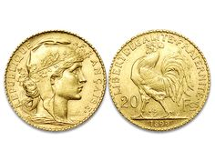 French 20 Franc Gold Rooster dated 1899