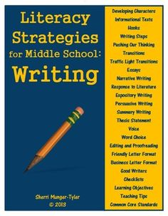 Middle School students are still learning HOW to write well and they need strategies! These strategies, designed specifically for adolescents, can be used in ELA as well as all content areas to foster common language and help students transfer their writing skills to all classes and subjects. Includes 22 anchor charts, 3 student bookmarks, and 4 student checklists. Learning Objectives, Teaching Tips, and Common Core State Standards are all included. $10.60