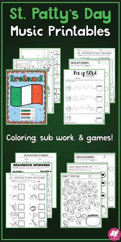 Music Worksheets, games, Color-by-note, sub work for elementary music class! Lots of fun, these printables will save the day when your out sick or your schedule is bonkers! Teaching Orchestra, Teaching Music, St Patrick's Day Music, Elementary Music Lessons, Elementary Education, Music Education Activities, Middle School Music, Music Lesson Plans, Music Classroom