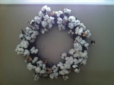 Wreath made out of Cotton picked straight from the field.