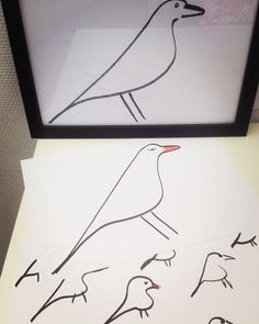 Studio time. Playing with Eames House Bird...Mr., Mrs. & babies #eameshousebird #birdfamily #birdartwork #society6