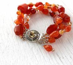 Carnelian bracelet handmade carnelian jewelry by ArtfulHummingbird, $215.00
