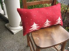 Jingle Bell Red Burlap Pillow by RamonaOwenDesigns on Etsy, $32.00