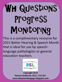 This is a complimentary resource for 2015 Better Hearing & Speech Month that is ideal for use by speech language pathologists or general education teachers. This progress monitoring tool can be used by the SLP or teacher to record students responses during Response to Intervention (RTI).