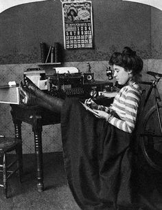 """""""The Careless Typist"""", c.1901.    Look, you can see her stockings and shoes! And her TINY TINY feet. Seriously, foot size is increasing. At the time this photo was taken, the average American woman's foot size was about a 2 (in UK sizes). Now it's about 6.5, and I can't find any decent explanations as to why."""
