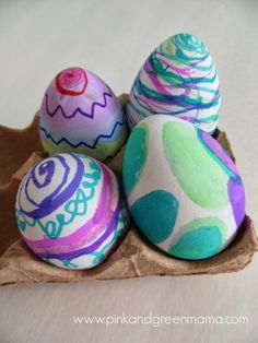 Mess free egg decorating with markers