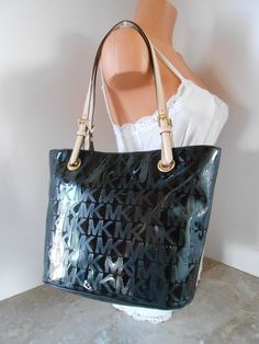fddcfaf03ffd New MICHAEL KORS Jet Set Mirror Metallic MK Logo EW Medium Tote NWT  248  BLACK  MichaelKors  TotesShoppers