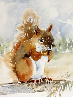 Sunday Watercolors - Squirrel | Karin @ Peppermint Patty's Papercraft