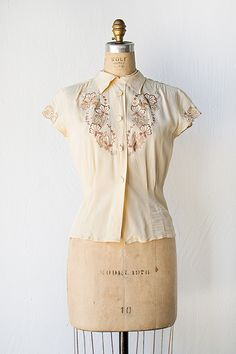vintage 1940s cream rayon blouse with embroidery | Once & Again Blouse