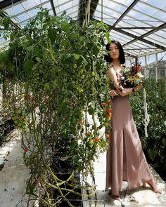 JRA debut bridesmaid collection - 'Senna' a flowing slip dress, with feminine shoulder frills and front split