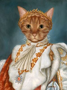 Charlie in Coronation Robes by Carol Lew. She paints old world pet portraits! - Cats & Art - As People (Historical) - I Love Cats, Crazy Cats, Cute Cats, Chat Royal, Animal Gato, Cat People, Cat Costumes, Vintage Cat, Cat Drawing