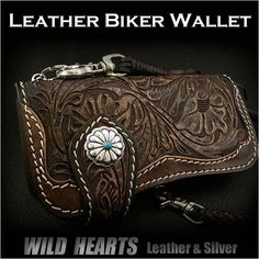Floral carving Biker wallet Carved wallet Leather Brown WILD HEARTS Leather&Silver http://item.rakuten.co.jp/auc-wildhearts/lw0869/