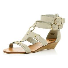 fc2f4f1ee83b Cream double ankle buckle wedge sandals