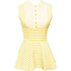 1960s Small Dress Set Jacket Cropped Mini Gingham Mustard Yellow Mod... ($128) ❤ liked on Polyvore featuring high waisted two piece, retro two piece, vintage two piece and sexy two piece