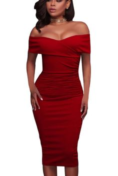 Red Ruched Off The Shoulder Bodycon Formal Midi Dress https://www.modeshe.com #modeshe @modeshe #Red