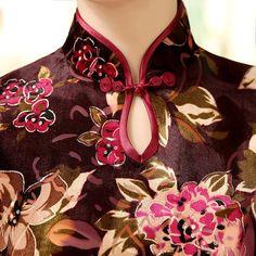 Mid-length Velvet Fabric Cheongsam Qipao Chinese dress T0005 - iChinesedress.com