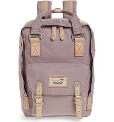 Macaroon Water Resistant Backpack, Main, color, Lilac Best Backpacks For College, Cool Backpacks, College Must Haves, College Fashion, Kanken Backpack, Doughnuts, Smooth Leather, Purse Wallet, School Supplies