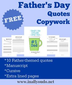 FREE Father's Day Copywork! - Blessed Beyond A Doubt