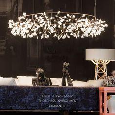 Haracleum Firefly Fireworm Brach Type Oval shape Chandelier LED Light pendant lamps For Home/Hotel bedroom living room