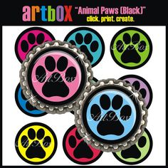 INSTANT DOWNLOAD Animal Paw Prints (Black) Bottle Cap Images - 4X6 Digital Collage Sheet - BottleCap 1 Inch Circles for Pendants, Hair Bows on Etsy, $2.50