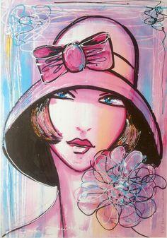 """Reproduction d'art numérotée signée portrait art déco rétro """"La vie en rose"""" : Affiches, illustrations, posters par la-perruche-de-rio"""