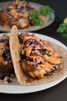 Blackened Fish Tacos with Cilantro Slaw and Sriracha Mayo