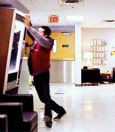 "- 2 gifs, go to tumblr post - post by dylansobryn - 2x01 || 4x04 Stiles ""dance away from danger"" Stilinski"