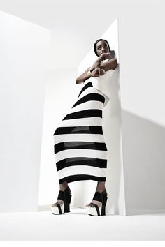 Black & White Striped Dress - chic stripes; stylish monochrome fashion photography