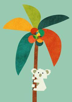 Koala on Coconut Tree Art Print