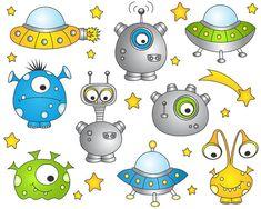 Monstres de l'espace extra-atmosphérique Clip Art par YarkoDesign