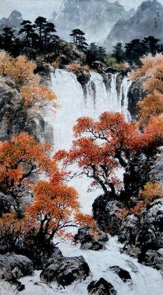 """""""리창""""그림 『가을 계곡』. 1942년 함경북도 청진시에서 출생하여 평양미술대학 조선화과를 졸업한 후 김철주 사범대학 교원으로 있었으며, 시인이었던 리창의 아버지와 정종여 사이에 친분이 두터웠던 관계로, 전통에"""