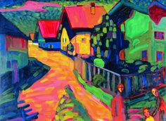 """Wassily Kandinsky: """"291"""", 1909. I was lucky enough to see the original at the museum at the Bellagio one year. His use of color was unbelievable back in this time period. If i was a millionaire, I would try to obtain this for myself."""