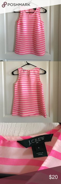 J Crew Factory Striped Top Size 0 Striped sleeveless top. Key hole button in back. Stripes are light pink and hot pink. Material is 100% polyester. Worn a few times, but still in excellent condition. No trades or Paypal. J.Crew Factory Tops Tank Tops