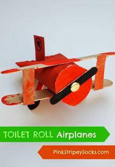 Pink Stripey Socks: Toilet Roll Biplane Airplanes Craft